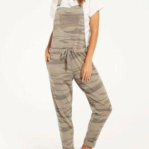 Z Supply Mureile Green Camo Print Knit Overalls